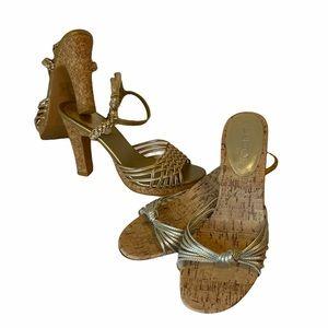 2 pairs of super SEXY cork summer heels ☀️🌸🌺